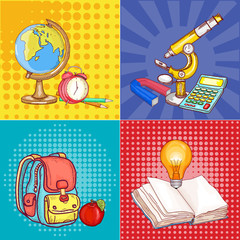 Education pop art school globe microscope, open book