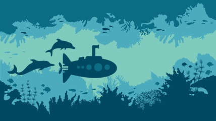 Silhouette of submarine, coral reef and fish.