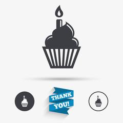 Birthday cake sign icon. Burning candle symbol