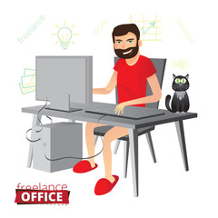 Funny bearded freelancer working at home on the computer with no pants in red slippers. Next to him sits a black cat with green eyes and thinks about the fish. Vector illustration.