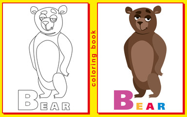 children's coloring book with letters and words. letter B. Bear.