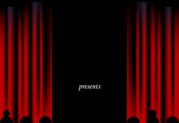 Cinema black background with red velvet curtain