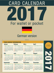 Useful card calendar 2017 for wallet or pocket, ready for printing in full color. Size: 90mm x 55mm. German version