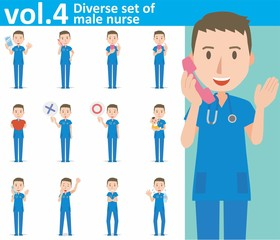 Diverse set of male nurse on white background , EPS10 vector format vol.4