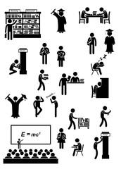 Piktogramme zum Thema Universität und Bildung