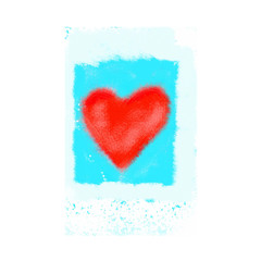 Abstract bright red heart on blue background