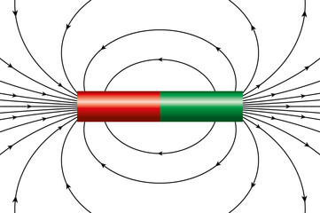 Magnetic field of an ideal cylindrical magnet, represented by magnetic field lines. The arrows are showing the direction of the field around the bar magnet at different points. Illustration over white