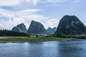 The Lijiang river and karst mountains scenery in autumn