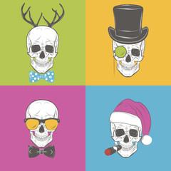 Funny Skulls vector set. Gentleman skull