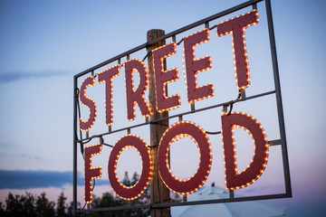 Street Food Outdoor sign with backlighting