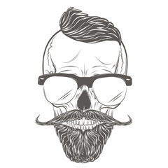 Hipster Skull vector. Gentleman skull