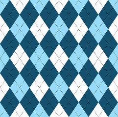 Seamless argyle pattern in dark blue, soft blue & white with black stitch.