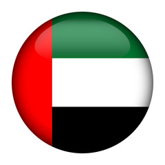 Round glossy Button with flag of Arab Emirates