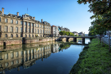 France, historic houses and bridges in the district of La Petite France in Strasbourg