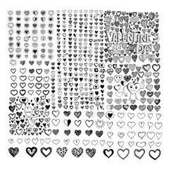 Doodle Hearts icon set Hand drawn Illustration design