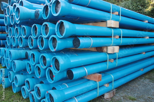 """""""Blue PVC Plastic Pipes And Fittings Used For Underground"""