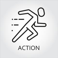 line icon action running man