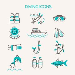 Underwater activity vector icons