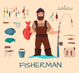 Fishing tools illustration