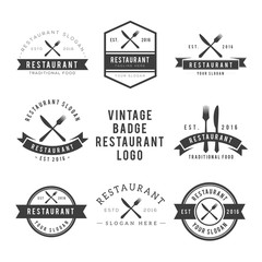 Restaurant food vintage design elements, logos, badges, labels, icons and objects