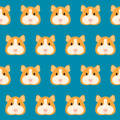 Cartoon guinea pig seamless pattern background