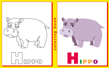 Coloring Book for Kids with letters and words. Litter H. Hippo.