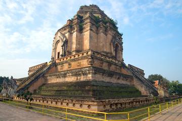 Ancient stupa of Wat Chedi Luang Worawiharn Sunny morning. Chiang Mai, Thailand