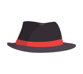 black vintage hat label red clothing accesory style vector illustration