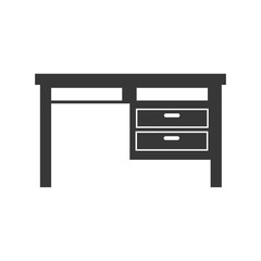 office desk furniture work place silhouette vector illustration