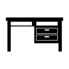 wooden desk home and office furniture workplace vector illustration