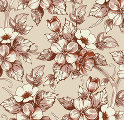 Flowers of аpple. Classic pattern. Beautiful pink flowers. Vintage background with blooming flowers. Drawing, engraving. Freehand realistic. Wallpaper. Vector victorian style Illustration.