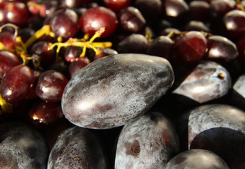 Purple plums and grapes 1