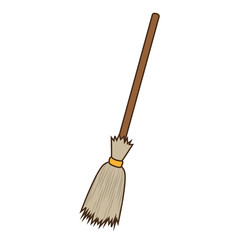 old witch straw broomstick halloween season vector illustration