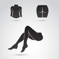 Woman body parts vector icon.
