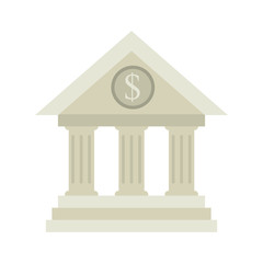 bank building exterior view with money sign vector illustration