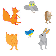 Set of cute cartoon animals, vector illustration