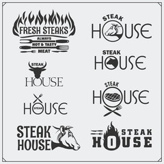 BBQ Collection. Set of vintage grill steak labels, badges and emblems.