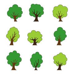 Tree icons set, isolated on white background, vector illustration.