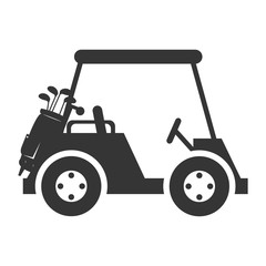 golf car vehicle auto transport sport game silhouette vector illustration