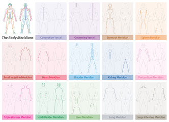 Body meridian chart with names and different colors - Traditional Chinese Medicine.