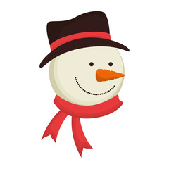 snowman smiling face wearing black hat and red scarf cartoon character vector illustration