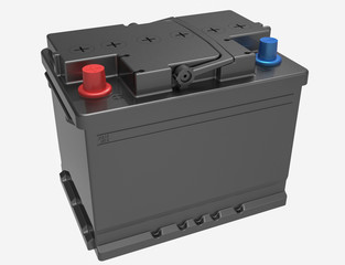 3D black car/truck battery with red and blue caps and handle on white
