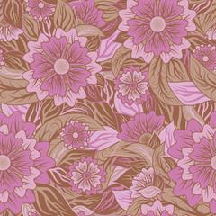 Vintage seamless pattern floral. vector illustration