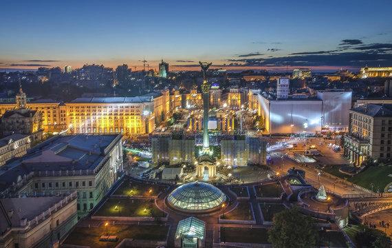 View of Independence Square (Maidan Nezalezhnosti) in Kiev, Ukraine