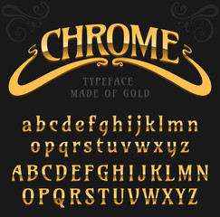 Chrome / fine label font made of gold, metallic art-nouveau, isolated on black / chrome font / gold typeface