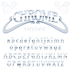 Chrome / fine label font made of metal, metallic art-nouveau, isolated on white / chrome font / Silver typeface