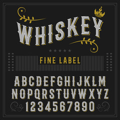 Whiskey label font and sample label design. Vintage font. Whiskey font.