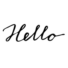 Hello drawn lettering card