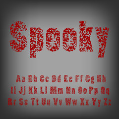 Bullet holes in letters. Spooky horror typeface font. Vector.