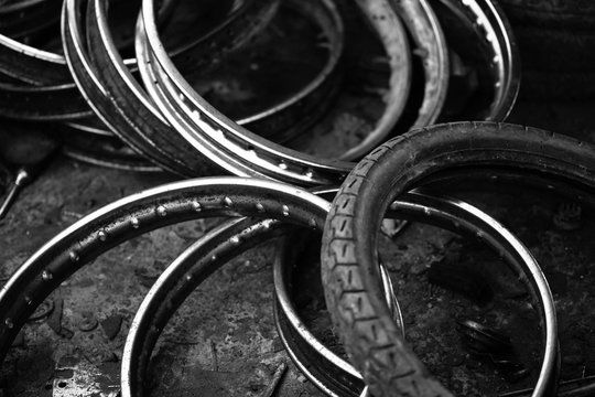 lot of wheel tires of motorcycle use